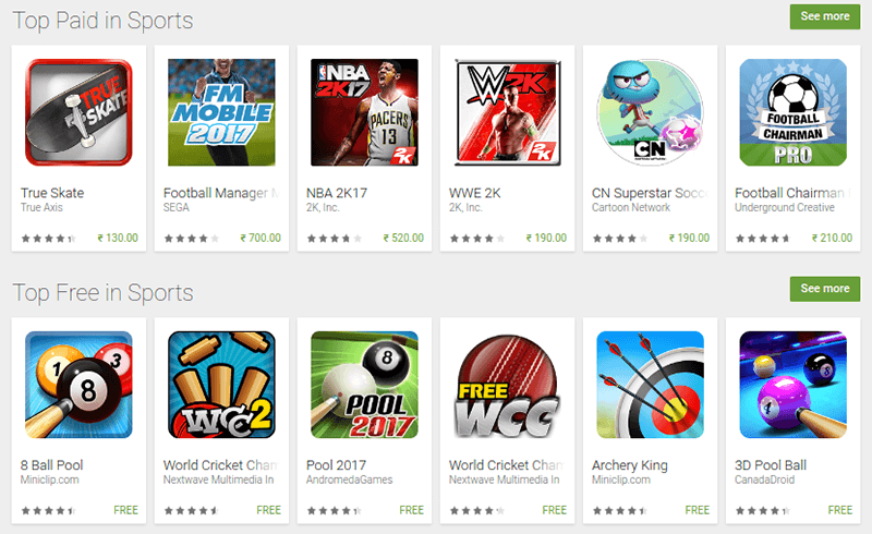 sports apps play store
