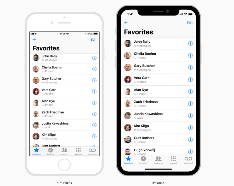 iPhone X layout