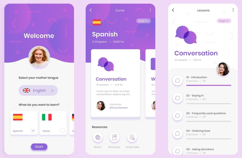 language learning app screens
